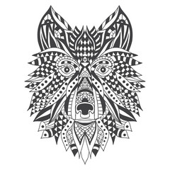 Wolf head with ethnic patterns. Vector illustration