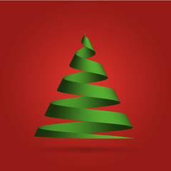 Simple green ribbon in a shape of Christmas tree. Merry Christmas theme. 3D vector illustration with dropped shadow and red gradient background.