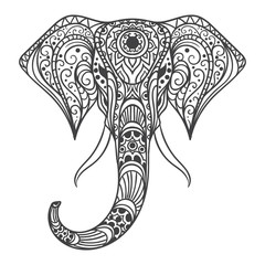 Elephant head with ethnic patterns. Vector illustration