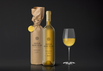 Wrapped and Unwrapped Wine Bottle with Glass Mockup