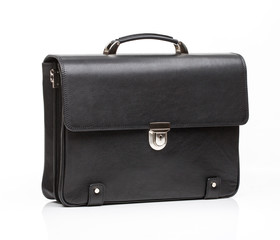 black leather men casual or business briefcase