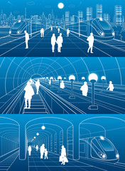 Subway station, people walking, train move. Infrastructure and transport illustration set. Excavators, city scene, white lines on blue background, vector design art
