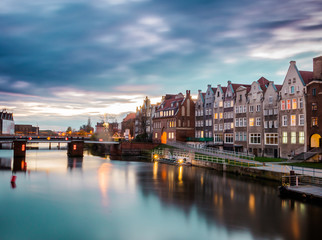 Gdansk old town river at sunset