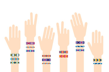 Hands with hippy friendship bracelets. Vector illustration