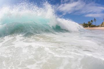 Blue Ocean Background Huge Shorebreak Big Swell Wave Front View