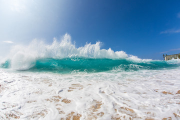 Blue Ocean Background Huge Shorebreak Big Swell Wave Front View