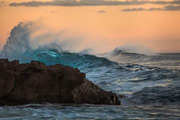 Shining Translucent Ocean Background Shorebreak Wave for Surfing