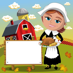 Thanksgiving day background pilgrim woman holding traditional roast turkey blank banner