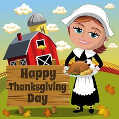 Thanksgiving day background square pilgrim woman traditional roast turkey