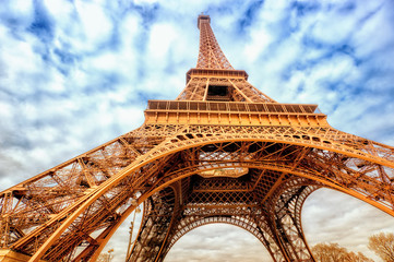 Eiffel tower wide shot with clouds, Paris, France