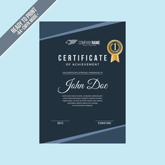 elegant Certificate decorated template with black shapes
