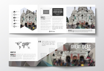 Set of tri-fold brochures, square design templates. Polygonal background, blurred image, cathedral Sakre-Ker, Paris cityscape, modern triangular vector texture