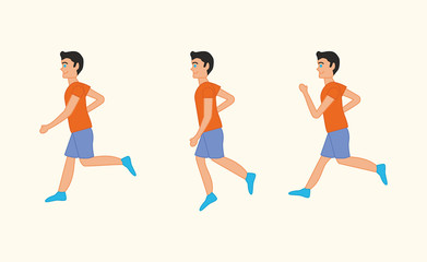Set of vector illustration of running boy or young man