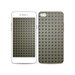 Mobile smartphone with an example of the screen and cover design isolated on white. Islamic gold pattern, overlapping geometric square shapes forming abstract ornament. Vector stylish golden texture.