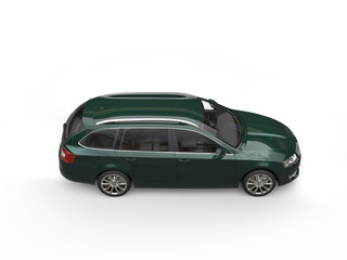 Dark green family car - top side view