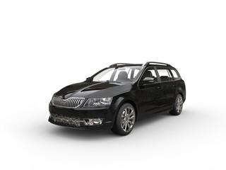 Black caravan family car - studio shot