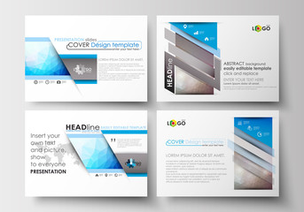 Set of business templates for presentation slides. Easy editable layouts in flat design. Abstract triangles, blue triangular background, colorful polygonal pattern.