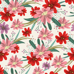 Retro seamless floral background, red vintage flowers and branches