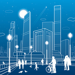 People walking. Business center, architecture and urban illustration, neon city, white lines on blue background, skyscrapers and towers, vector design art