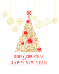 Merry Christmas and Happy New Year greeting card. Christmas tree from gold and red snowflakes isolated on white background. Vector illustration