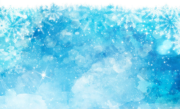 Christmas watercolor background with snowflakes and bokeh lights