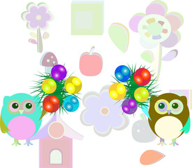owl family with christmas balls and fir - new year concept