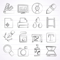 Print industry and graphic design icons - vector icon set