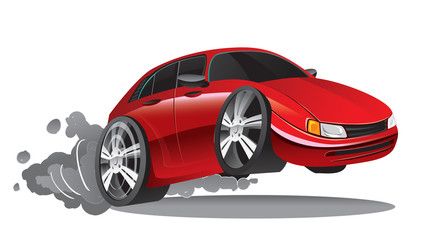 Vector illustration of fast moving red sport car in cartoon style