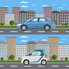 Blue sedan and white smart car on road in city vector illustration. Urban cityscape background with skyscrapers. Small compact city eco car. Modern automobile. Family citycar. People transportations.