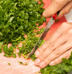 parsley and dill in the kitchen