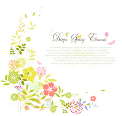 Wedding invitation with colorful flower background
