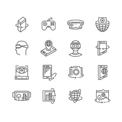 Virtual reality technologies line icon set. 360 degree view, virtual reality goggles and headset, rotation arrows, interactive games, virtual world travel, augmented reality gadget vector illustration
