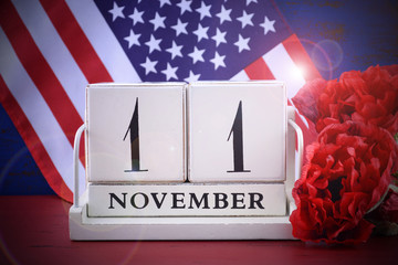 USA Veterans Day save the date wood calendar