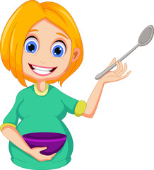 happy Pregnant mom cartoon holding bowl and spoon