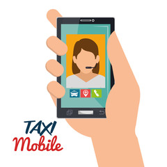 hand hold smartphone taxi mobile vector illustration eps 10