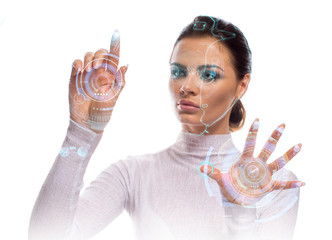 Future technology Virtual Holographic interface. Hi-tech Girl touching screen. Business Young lady working with virtual Graphics in futuristic office. Image isolated on white background.