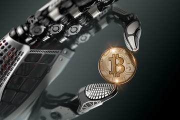 Robot holding bitcoin with fingers in mechanical arm
