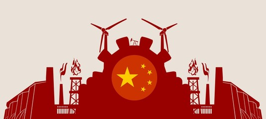 Energy and Power icons set with China flag. Sustainable energy generation and heavy industry. Vector illustration