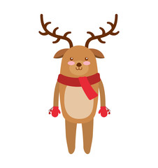 reindeer winter clothes icon vector illustration design