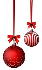 Christmas Background with red balls and ribbon