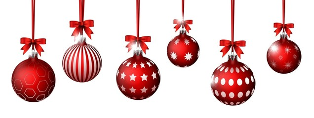 collection of red Christmas balls with ribbons on white background