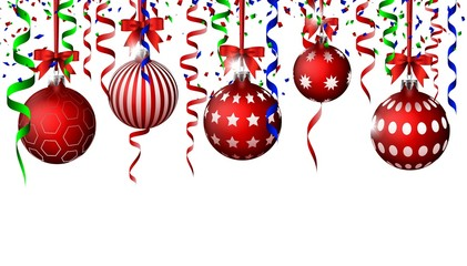 Christmas Background with balls and ribbon