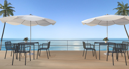 3d rendering dining set on wood terrace near sea in summer with umbrella beach