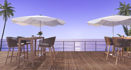 3d rendering outdoor wooden dining set near beach in the evening
