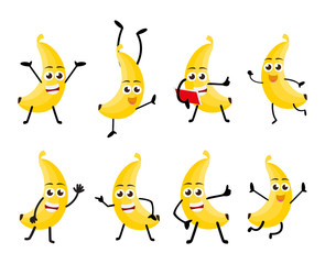 set of funny banana fruit character cartoon