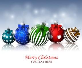 Christmas card with colorful christmas balls
