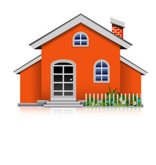 orange house isolated cartoon for you design