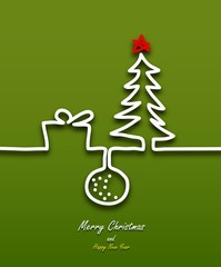 Christmas card with ribbon stylized Christmas tree