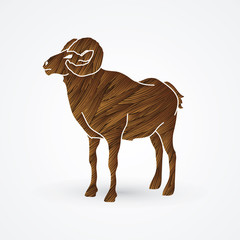 Sheep with big horn standing designed using brown grunge brush graphic vector.