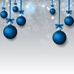 Christmas Background with blue balls hinging